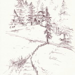 """CASTEL GARDENA"" - Inchiostro su carta, 21x28 cm, anno 2012"