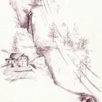 """""""CASCATA DI S. CRISTINA"""" - Inchiostro su carta, 21x28 cm, anno 2012"""