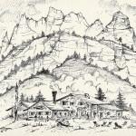 """""""RIFUGIO SCOTONI"""" - Inchiostro su carta, 25x36 cm, anno 2013"""