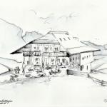 """""""RIFUGIO PRALONGIA'"""" - Inchiostro acquerellato su carta, 21x28 cm, anno 2014"""