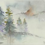 """""""BOSCO DI COLFOSCO NELLA NEBBIA"""" - Acquerello su carta, 23x30 cm, anno 2017"""