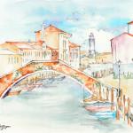 """""""CANALE DI S. DONATO"""" - Acquerello e inchiostro su carta, 21x28 cm, anno 2015"""