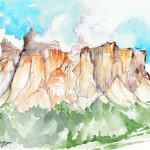 """""""GRUPPO DEL SELLA"""" - Acquerello e inchiostro su carta, 21x28 cm, anno 2015"""