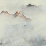 """""""VETTE DOLOMITICHE NELLA NEBBIA"""" - Acquerello su carta, 23x30 cm, anno 2017"""